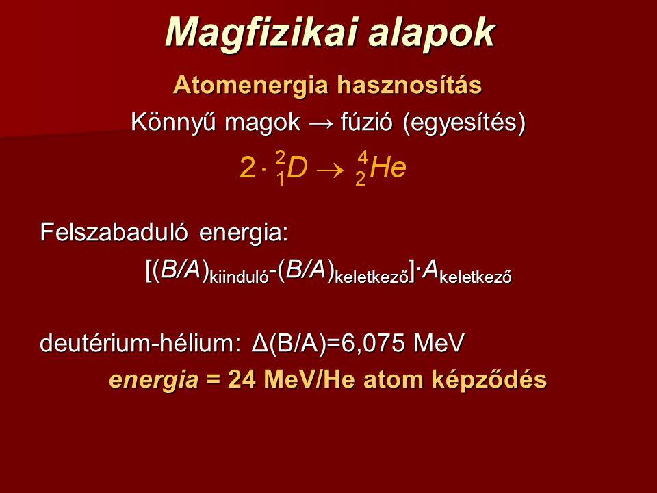 Magfizikai alapok Atomenergia hasznosítás Könnyű magok → fúzió (egyesítés) Felszabaduló energia: [(B/A) kiinduló -(B/A) keletkező ]·A keletkező deutér