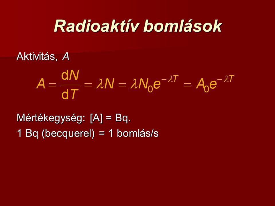 Radioaktív bomlások Aktivitás, A Mértékegység: [A] = Bq. 1 Bq (becquerel) = 1 bomlás/s