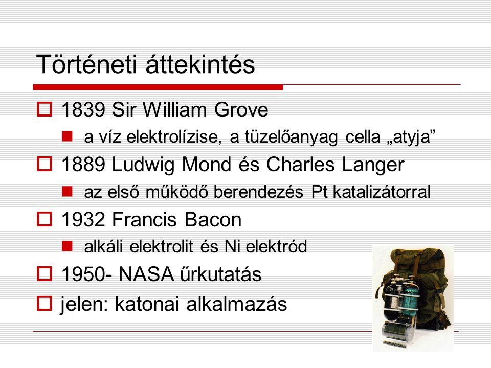 """Történeti áttekintés  1839 Sir William Grove a víz elektrolízise, a tüzelőanyag cella """"atyja""""  1889 Ludwig Mond és Charles Langer az első működő ber"""