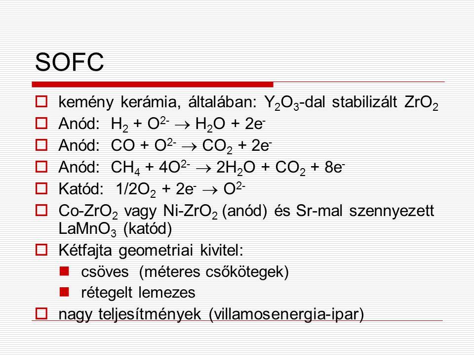 SOFC  kemény kerámia, általában: Y 2 O 3 -dal stabilizált ZrO 2  Anód: H 2 + O 2-  H 2 O + 2e -  Anód: CO + O 2-  CO 2 + 2e -  Anód: CH 4 + 4O 2