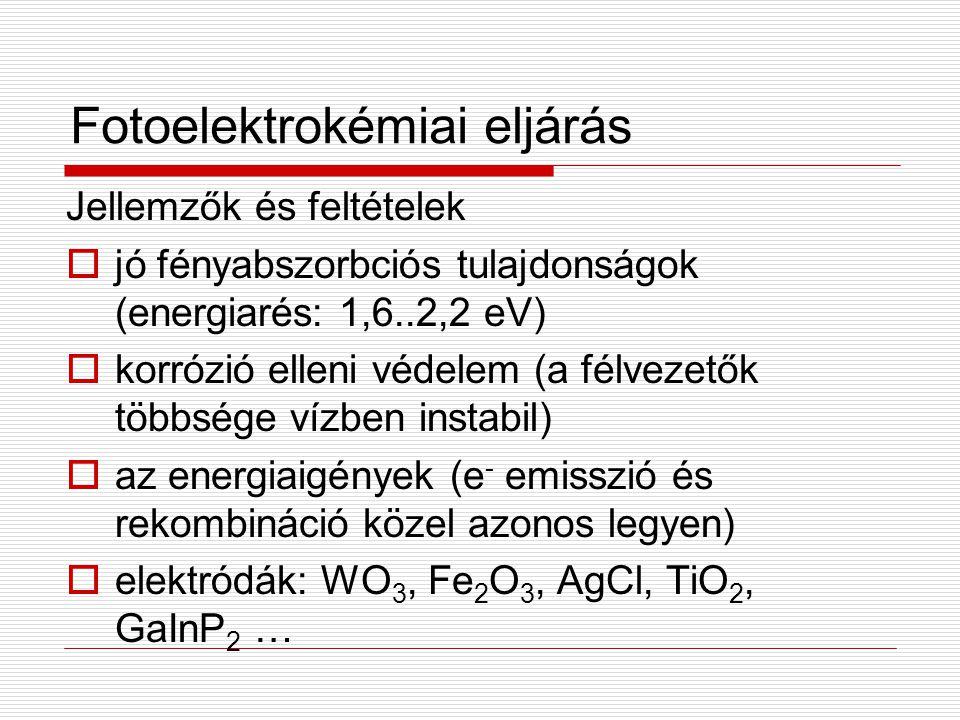Fotoelektrokémiai eljárás Jellemzők és feltételek  jó fényabszorbciós tulajdonságok (energiarés: 1,6..2,2 eV)  korrózió elleni védelem (a félvezetők