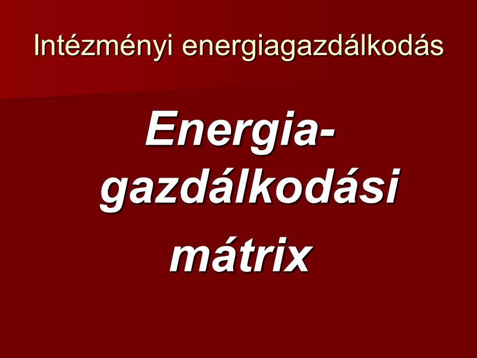 Intézményi energiagazdálkodás Energiagazdálkodási mátrix A mátrix céljai:  a pillanatnyi helyzetkép felmérése;  energiagazdálkodási prioritások azonosítása;  hiányosságok és új lehetőségek feltárása.