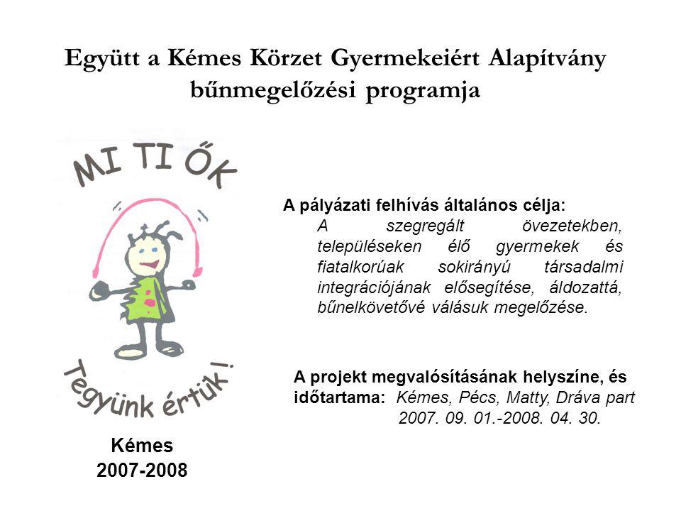 Együtt a Kémes Körzet Gyermekeiért Alapítvány bűnmegelőzési programja Kémes 2007-2008 A pályázati felhívás általános célja: A szegregált övezetekben,