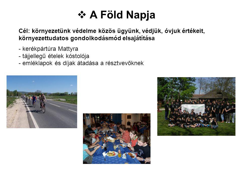 Cél: környezetünk védelme közös ügyünk, védjük, óvjuk értékeit, környezettudatos gondolkodásmód elsajátítása - kerékpártúra Mattyra - tájjellegű étele