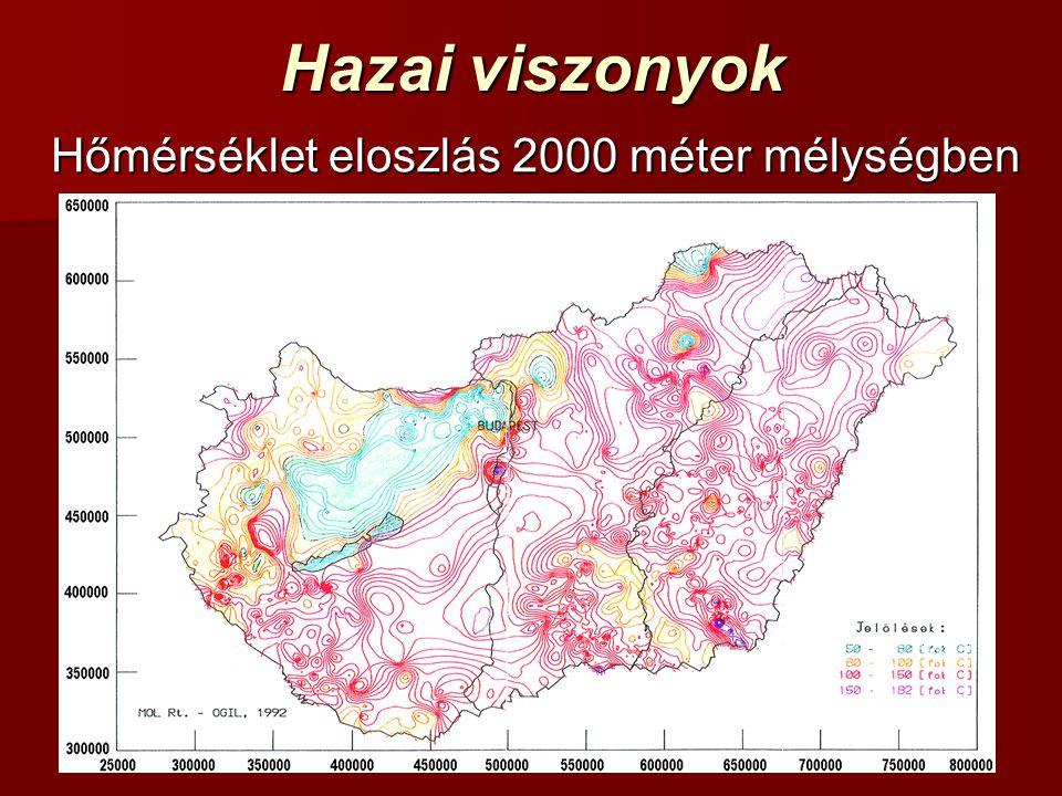 Hazai viszonyok Hőmérséklet eloszlás 2000 méter mélységben