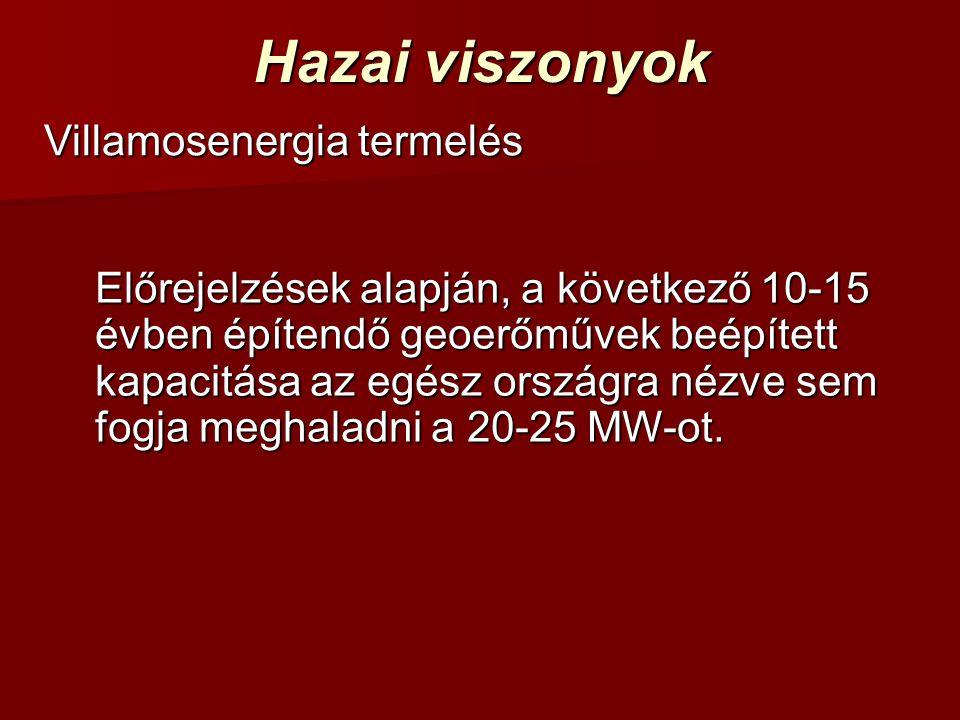 Hazai viszonyok Villamosenergia termelés Előrejelzések alapján, a következő 10-15 évben építendő geoerőművek beépített kapacitása az egész országra nézve sem fogja meghaladni a 20-25 MW-ot.