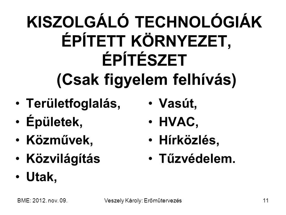 BME: 2012. nov. 09.Veszely Károly: Erőműtervezés11 KISZOLGÁLÓ TECHNOLÓGIÁK ÉPÍTETT KÖRNYEZET, ÉPÍTÉSZET (Csak figyelem felhívás) Területfoglalás, Épül
