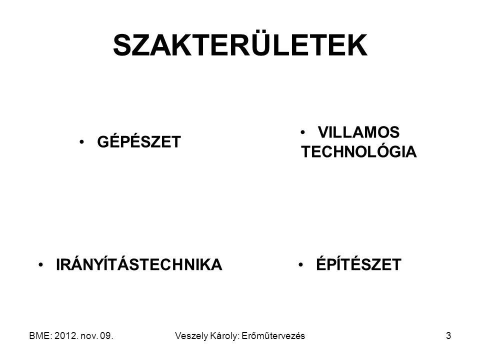 BME: 2012. nov. 09.Veszely Károly: Erőműtervezés3 SZAKTERÜLETEK GÉPÉSZET VILLAMOS TECHNOLÓGIA IRÁNYÍTÁSTECHNIKAÉPÍTÉSZET