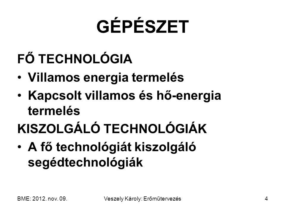 BME: 2012. nov. 09.Veszely Károly: Erőműtervezés4 GÉPÉSZET FŐ TECHNOLÓGIA Villamos energia termelés Kapcsolt villamos és hő-energia termelés KISZOLGÁL