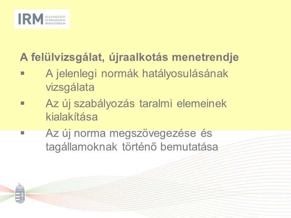 A felülvizsgálat, újraalkotás menetrendje  A jelenlegi normák hatályosulásának vizsgálata  Az új szabályozás taralmi elemeinek kialakítása  Az új norma megszövegezése és tagállamoknak történő bemutatása