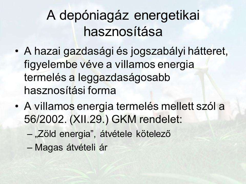 A depóniagáz energetikai hasznosítása A hazai gazdasági és jogszabályi hátteret, figyelembe véve a villamos energia termelés a leggazdaságosabb haszno