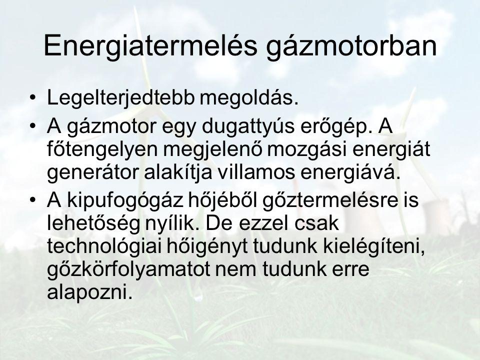 Legelterjedtebb megoldás. A gázmotor egy dugattyús erőgép. A főtengelyen megjelenő mozgási energiát generátor alakítja villamos energiává. A kipufogóg