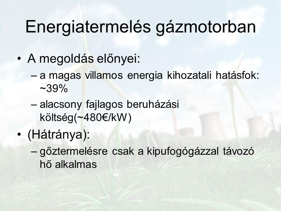 Energiatermelés gázmotorban A megoldás előnyei: –a magas villamos energia kihozatali hatásfok: ~39% –alacsony fajlagos beruházási költség(~480€/kW) (H