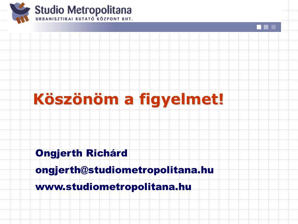 Köszönöm a figyelmet! Ongjerth Richárd ongjerth@studiometropolitana.hu www.studiometropolitana.hu