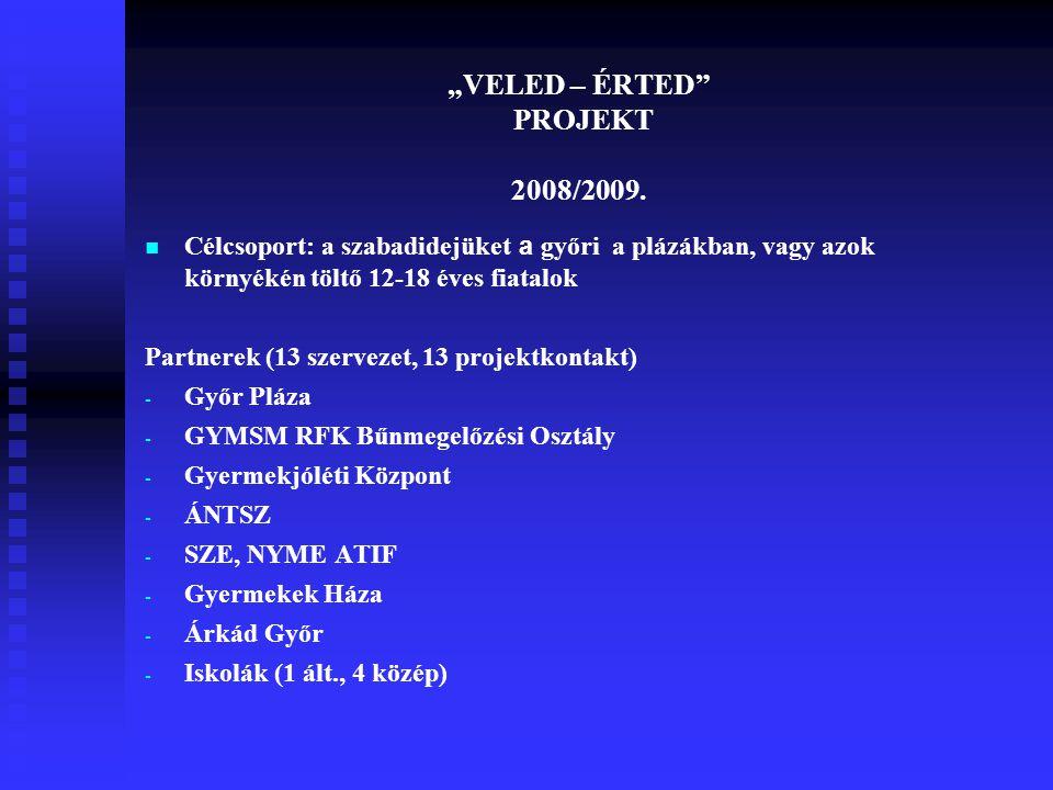 """""""VELED – ÉRTED"""" PROJEKT 2008/2009. Célcsoport: a szabadidejüket a győri a plázákban, vagy azok környékén töltő 12-18 éves fiatalok Partnerek (13 szerv"""