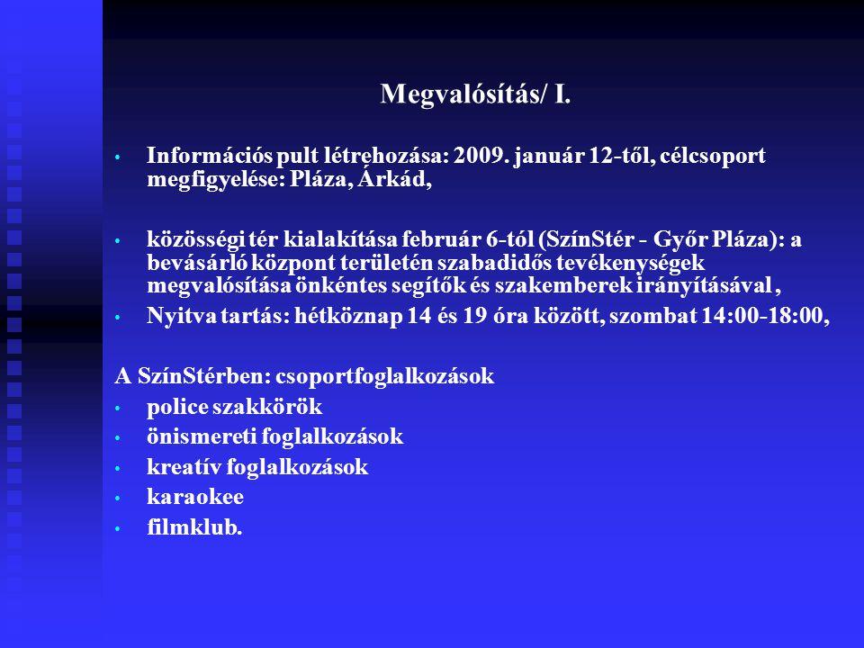 Megvalósítás/ I. Információs pult létrehozása: 2009. január 12-től, célcsoport megfigyelése: Pláza, Árkád, közösségi tér kialakítása február 6-tól (Sz