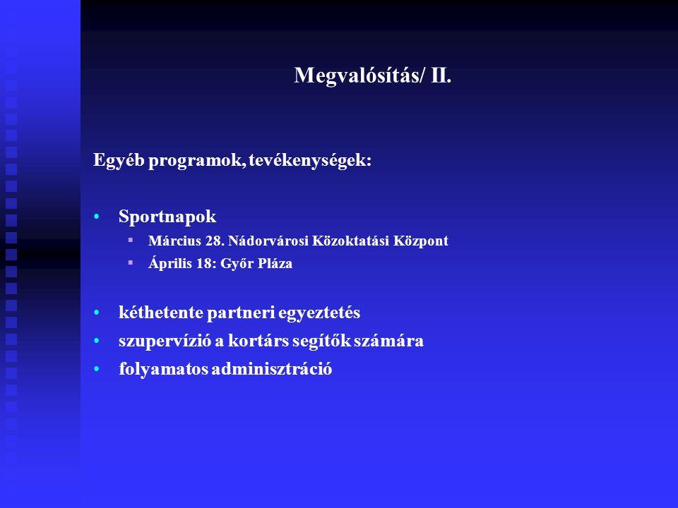 Megvalósítás/ II. Egyéb programok, tevékenységek: Sportnapok  Március 28. Nádorvárosi Közoktatási Központ  Április 18: Győr Pláza kéthetente partner