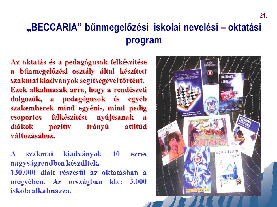 """""""BECCARIA"""" bűnmegelőzési iskolai nevelési – oktatási program Az oktatás és a pedagógusok felkészítése a bűnmegelőzési osztály által készített szakmai"""