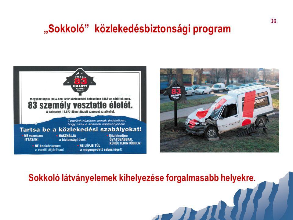 """""""Sokkoló"""" közlekedésbiztonsági program Sokkoló látványelemek kihelyezése forgalmasabb helyekre. 36."""