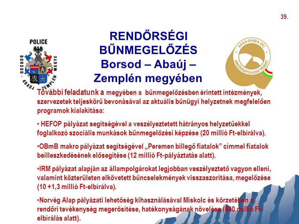 RENDŐRSÉGI BŰNMEGELŐZÉS Borsod – Abaúj – Zemplén megyében További feladatunk a megyében a bűnmegelőzésben érintett intézmények, szervezetek teljeskörű