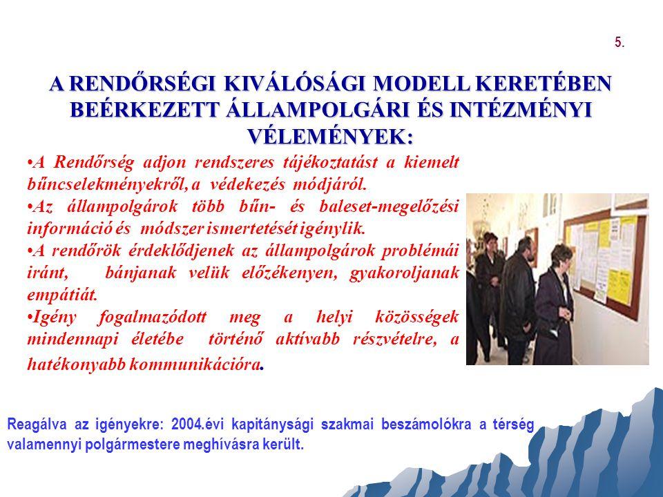 MEGÚJÍTÁS FOLYAMATA A KOMMUNIKÁCIÓBAN ÉS A TÁRSADALMI KAPCSOLATOKBAN 131 szervezettel együttműködés: Polgárőr szervezetek, nyugdíjasok, mozgássérültek szervezetei Kisebbségi szervezetek Intézményi emü.-k felülvizsgálata (Pl.: Határőrség, Posta, Vagyonőri Kamara) Belső kommunikáció javítására hírlevél kiadása 6.