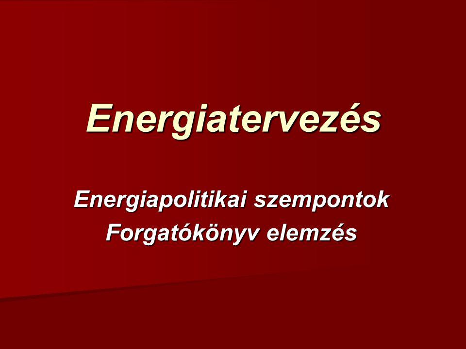 Energiatervezés Energiapolitikai szempontok Forgatókönyv elemzés
