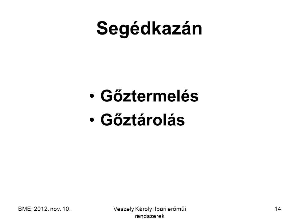 BME; 2012. nov. 10.Veszely Károly: Ipari erőműi rendszerek 14 Segédkazán Gőztermelés Gőztárolás