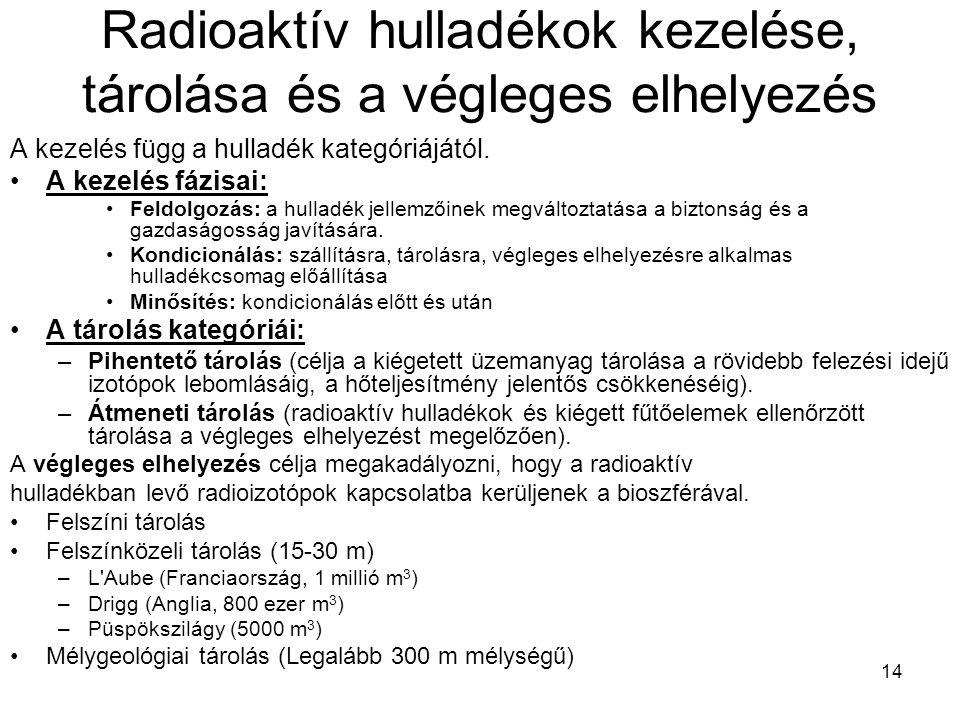 14 Radioaktív hulladékok kezelése, tárolása és a végleges elhelyezés A kezelés függ a hulladék kategóriájától. A kezelés fázisai: Feldolgozás: a hulla