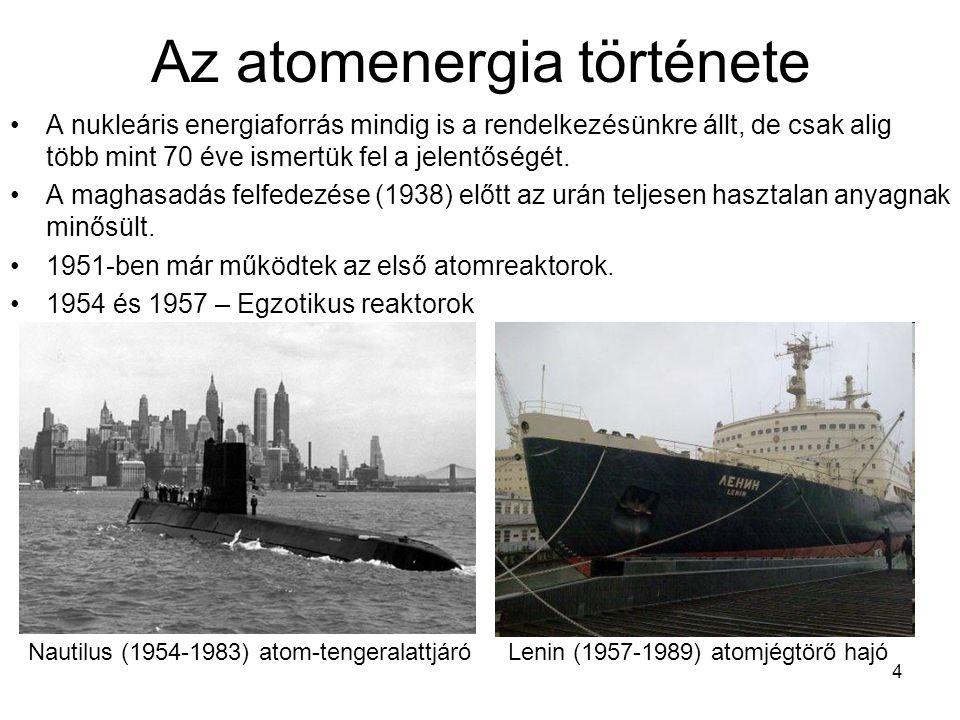 4 Az atomenergia története A nukleáris energiaforrás mindig is a rendelkezésünkre állt, de csak alig több mint 70 éve ismertük fel a jelentőségét. A m