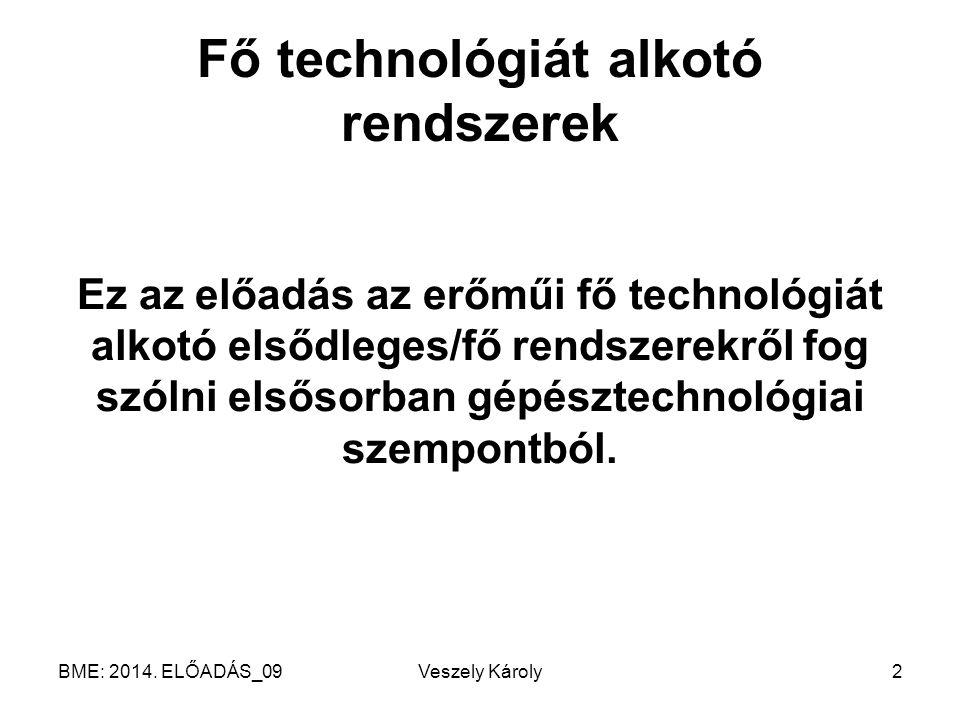BME: 2014. ELŐADÁS_09Veszely Károly3 Fő technológia
