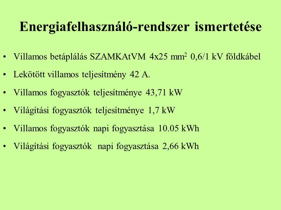 Energiafelhasználó-rendszer ismertetése Villamos betáplálás SZAMKAtVM 4x25 mm 2 0,6/1 kV földkábel Lekötött villamos teljesítmény 42 A. Villamos fogya