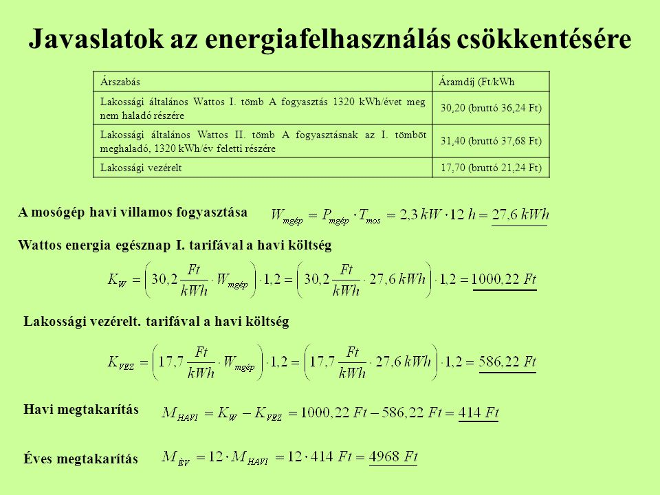Javaslatok az energiafelhasználás csökkentésére ÁrszabásÁramdíj (Ft/kWh Lakossági általános Wattos I. tömb A fogyasztás 1320 kWh/évet meg nem haladó r