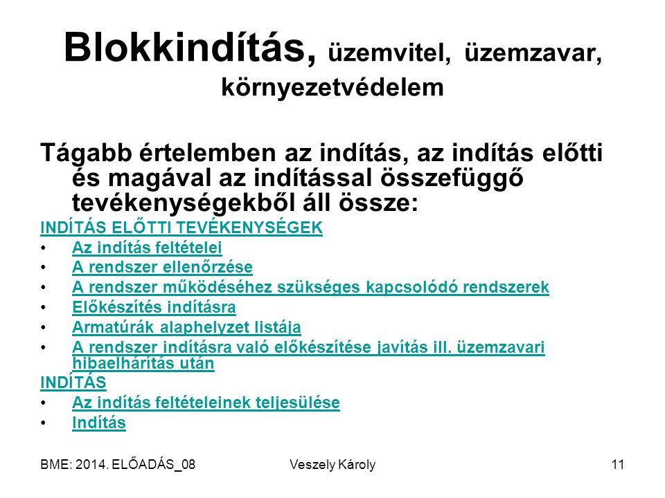 BME: 2014. ELŐADÁS_08Veszely Károly11 Blokkindítás, üzemvitel, üzemzavar, környezetvédelem Tágabb értelemben az indítás, az indítás előtti és magával