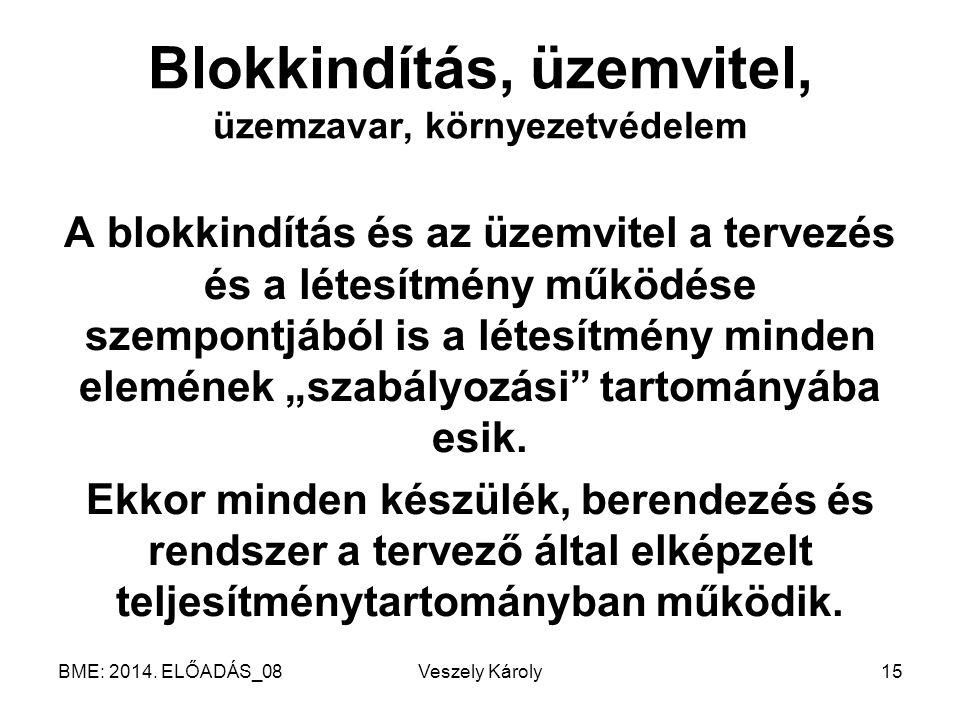 BME: 2014. ELŐADÁS_08Veszely Károly15 Blokkindítás, üzemvitel, üzemzavar, környezetvédelem A blokkindítás és az üzemvitel a tervezés és a létesítmény