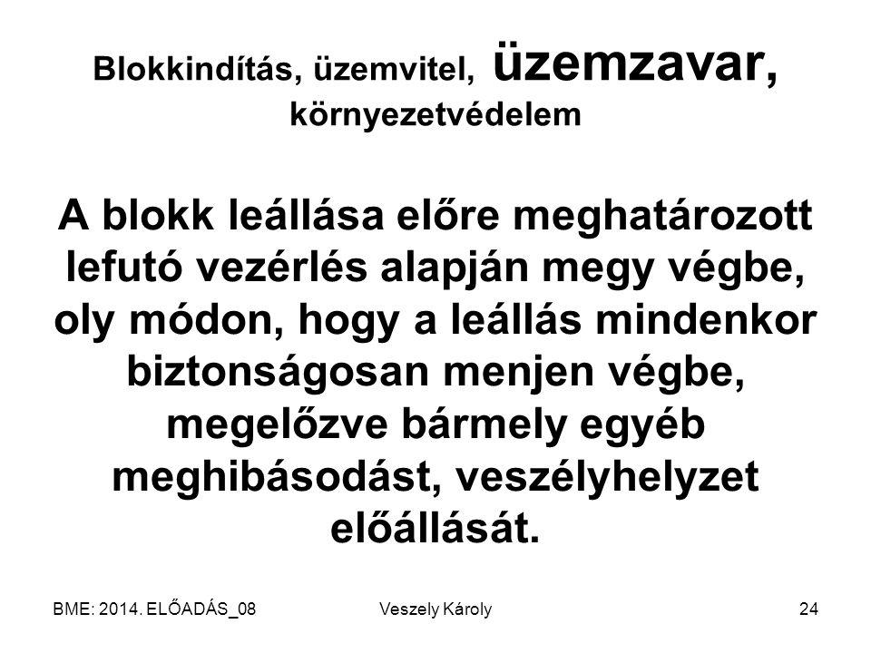 BME: 2014. ELŐADÁS_08Veszely Károly24 Blokkindítás, üzemvitel, üzemzavar, környezetvédelem A blokk leállása előre meghatározott lefutó vezérlés alapjá