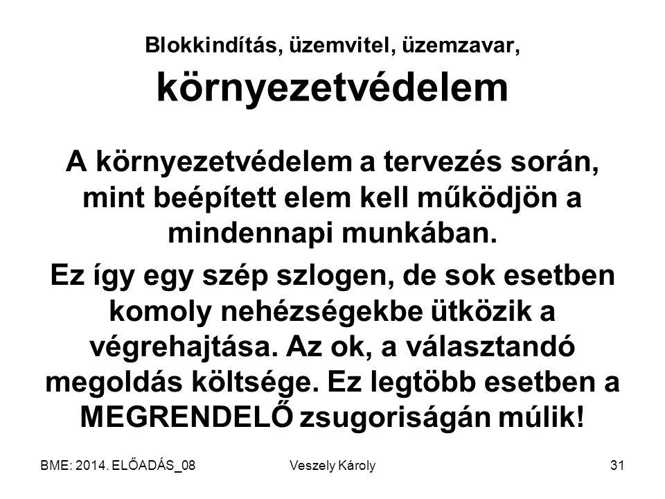BME: 2014. ELŐADÁS_08Veszely Károly31 Blokkindítás, üzemvitel, üzemzavar, környezetvédelem A környezetvédelem a tervezés során, mint beépített elem ke