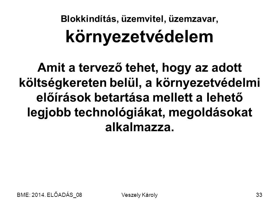 BME: 2014. ELŐADÁS_08Veszely Károly33 Blokkindítás, üzemvitel, üzemzavar, környezetvédelem Amit a tervező tehet, hogy az adott költségkereten belül, a