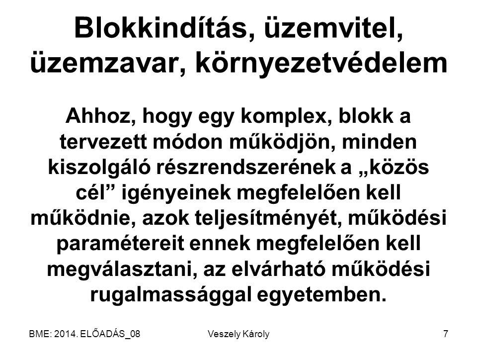 BME: 2014. ELŐADÁS_08Veszely Károly7 Blokkindítás, üzemvitel, üzemzavar, környezetvédelem Ahhoz, hogy egy komplex, blokk a tervezett módon működjön, m