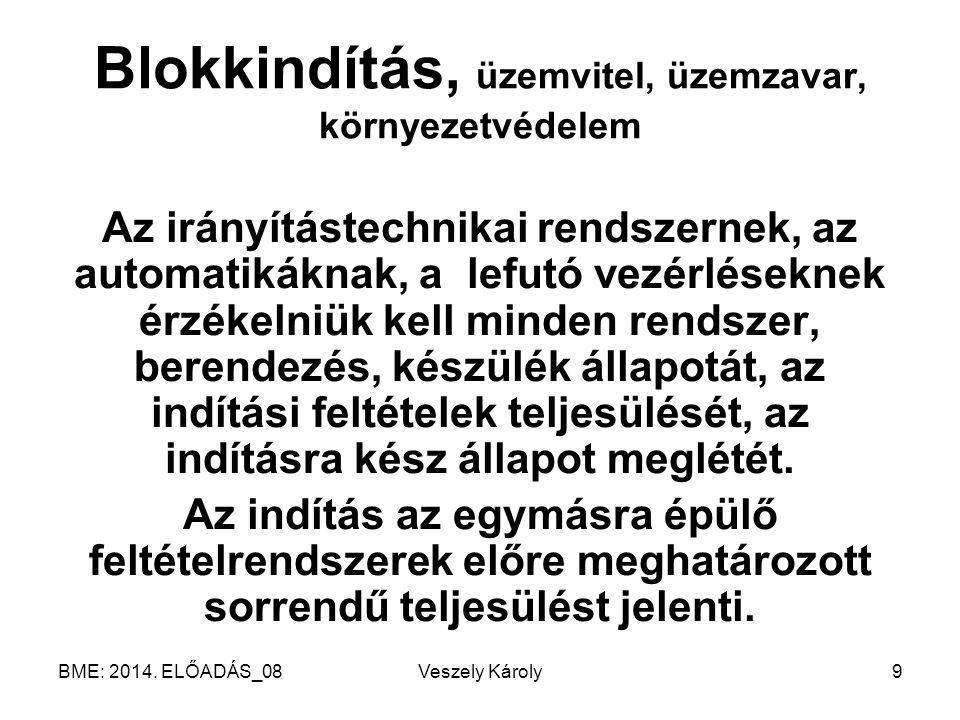 BME: 2014. ELŐADÁS_08Veszely Károly9 Blokkindítás, üzemvitel, üzemzavar, környezetvédelem Az irányítástechnikai rendszernek, az automatikáknak, a lefu