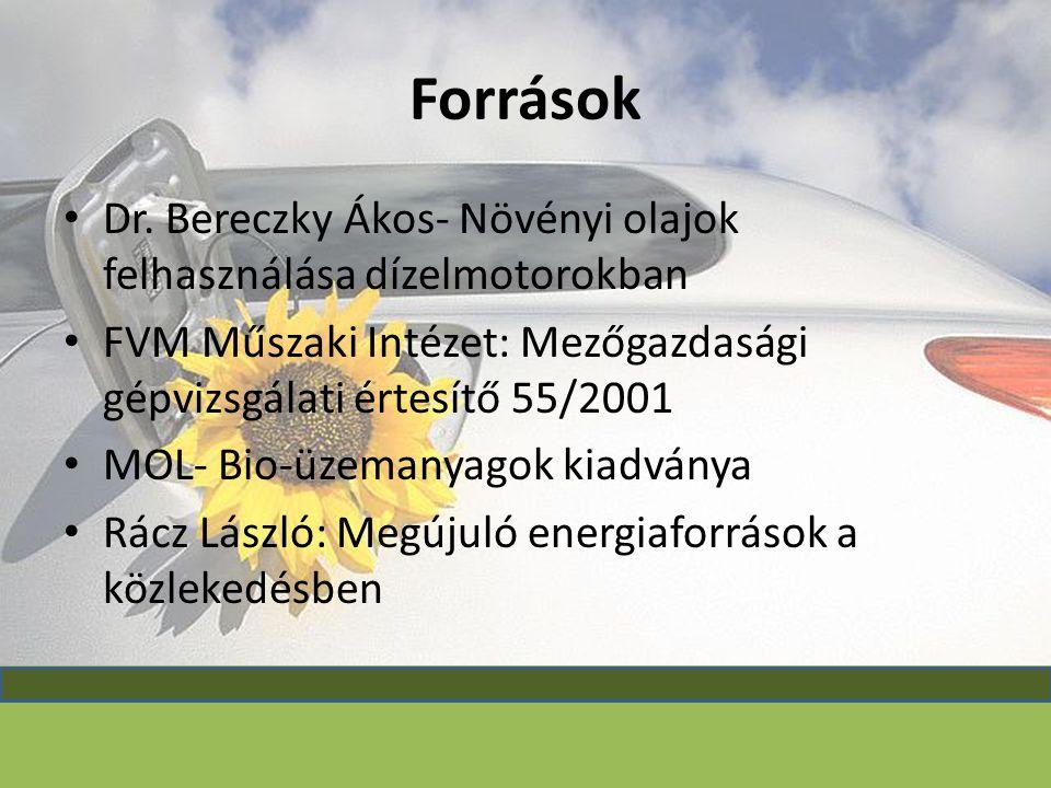 Források Dr. Bereczky Ákos- Növényi olajok felhasználása dízelmotorokban FVM Műszaki Intézet: Mezőgazdasági gépvizsgálati értesítő 55/2001 MOL- Bio-üz