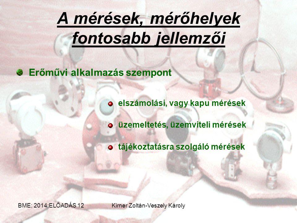 Mérőműszerek osztályozása BME; 2014;ELŐADÁS 12Kirner Zoltán-Veszely Károly