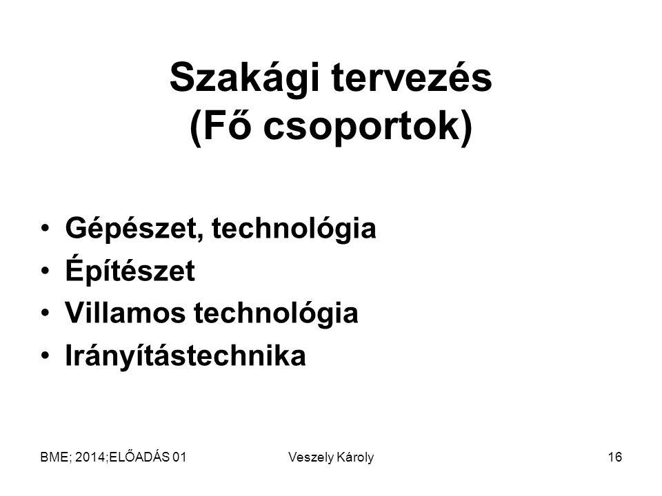 Szakági tervezés (Fő csoportok) Gépészet, technológia Építészet Villamos technológia Irányítástechnika BME; 2014;ELŐADÁS 01Veszely Károly16