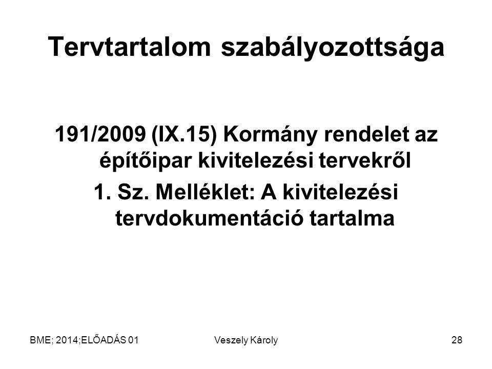 Tervtartalom szabályozottsága 191/2009 (IX.15) Kormány rendelet az építőipar kivitelezési tervekről 1. Sz. Melléklet: A kivitelezési tervdokumentáció