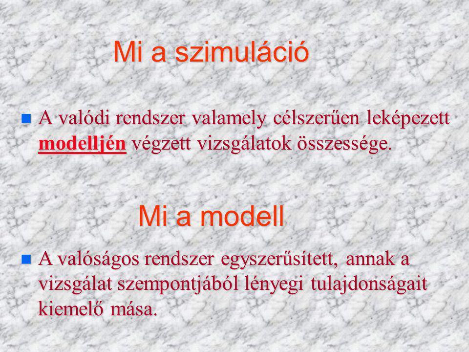 Mi a szimuláció n A valódi rendszer valamely célszerűen leképezett modelljén végzett vizsgálatok összessége.