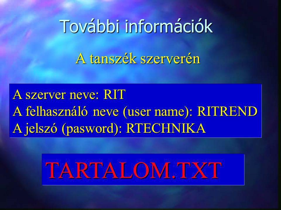 További információk A tanszék szerverén A szerver neve: RIT A felhasználó neve (user name): RITREND A jelszó (pasword): RTECHNIKA TARTALOM.TXT