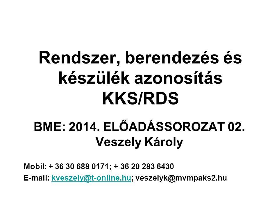 Rendszer, berendezés és készülék azonosítás KKS/RDS BME: 2014. ELŐADÁSSOROZAT 02. Veszely Károly Mobil: + 36 30 688 0171; + 36 20 283 6430 E-mail: kve