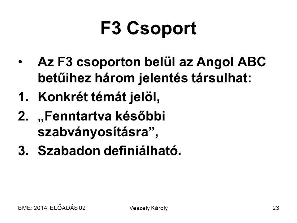 """BME: 2014. ELŐADÁS 02Veszely Károly23 F3 Csoport Az F3 csoporton belül az Angol ABC betűihez három jelentés társulhat: 1.Konkrét témát jelöl, 2.""""Fennt"""