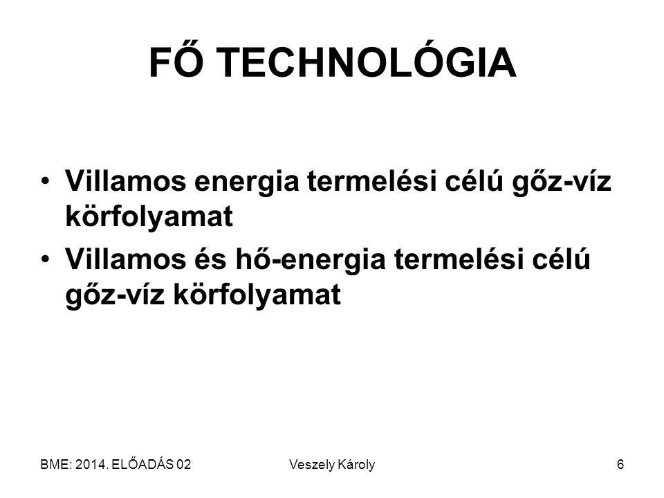 BME: 2014. ELŐADÁS 02Veszely Károly6 FŐ TECHNOLÓGIA Villamos energia termelési célú gőz-víz körfolyamat Villamos és hő-energia termelési célú gőz-víz