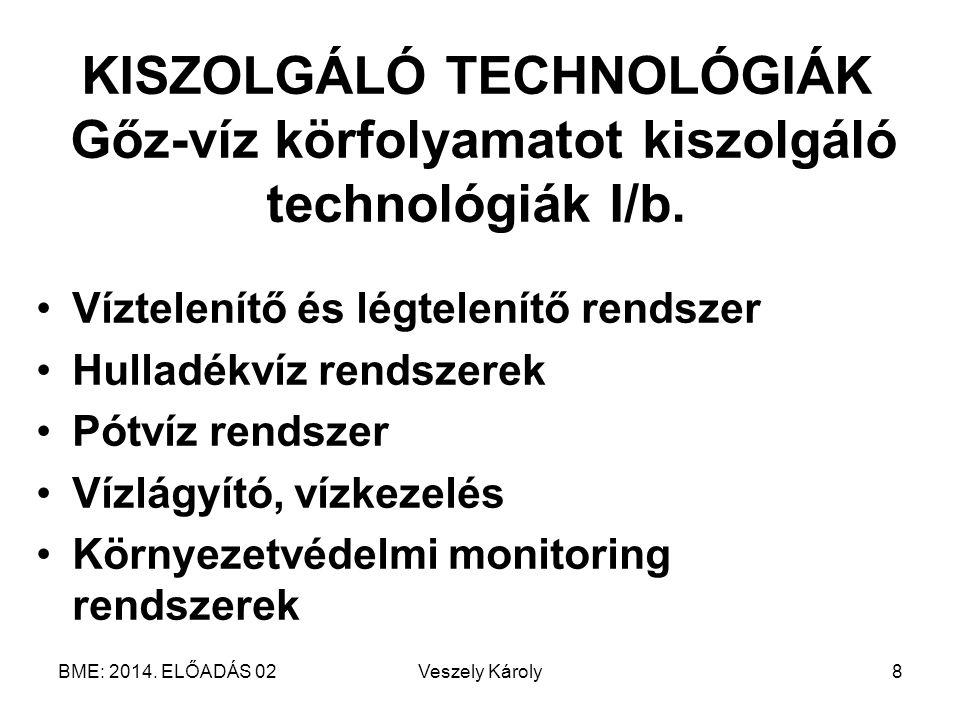 BME: 2014. ELŐADÁS 02Veszely Károly8 KISZOLGÁLÓ TECHNOLÓGIÁK Gőz-víz körfolyamatot kiszolgáló technológiák I/b. Víztelenítő és légtelenítő rendszer Hu