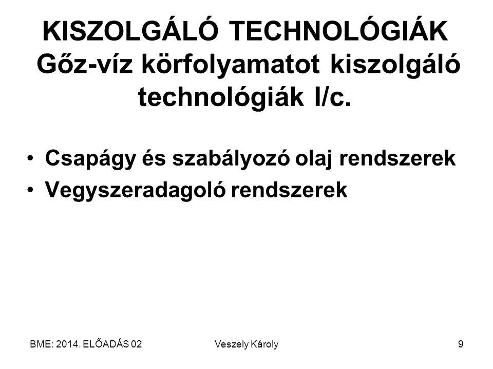 BME: 2014. ELŐADÁS 02Veszely Károly9 KISZOLGÁLÓ TECHNOLÓGIÁK Gőz-víz körfolyamatot kiszolgáló technológiák I/c. Csapágy és szabályozó olaj rendszerek
